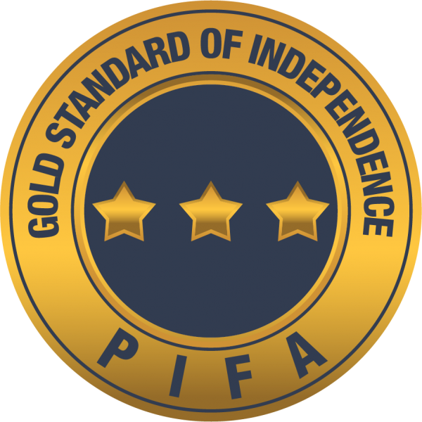 PIFA Gold Standard of Independent Financial Advice logo with three gold stars